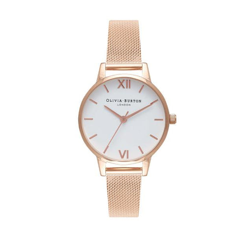 Olivia Burton Ladies' Rose Gold Mesh Stainless Steel Bracelet Watch OB16MDW01