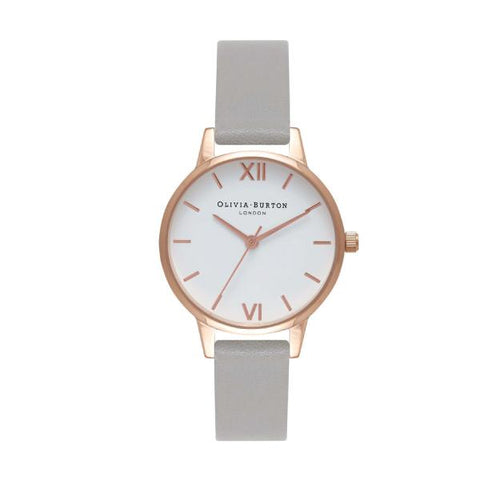 Olivia Burton Ladies' Grey Leather Strap Watch OB16MDW05