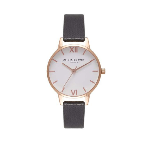 Olivia Burton Ladies' Black Leather Strap Watch OB16MDW07