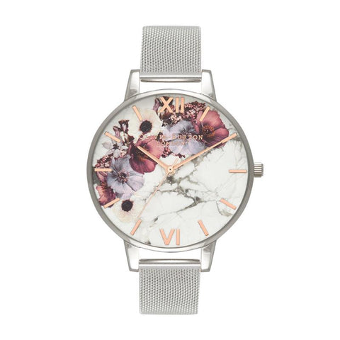 Olivia Burton Ladies' Marble Floral Mesh, Rose Gold & Silver Watch OB16MF09