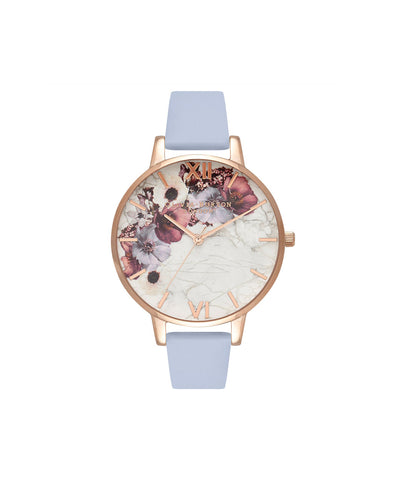 Olivia Burton Ladies' Marble Floral Chalk Blue & Rose Gold Watch OB16MF10
