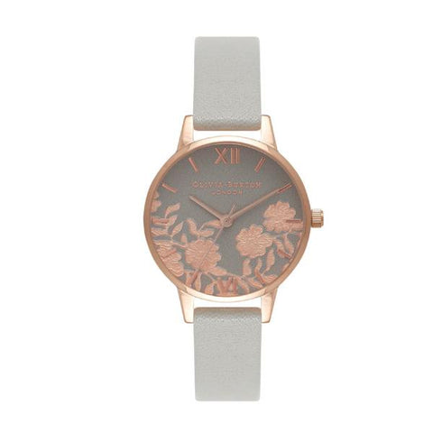 Olivia Burton Ladies' Grey & Rose Lace Grey Leather Strap Watch OB16MV58