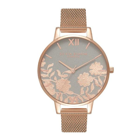 Olivia Burton Ladies' Grey & Rose Lace Rose Gold Ion-Plated Stainless Steel Watch OB16MV65