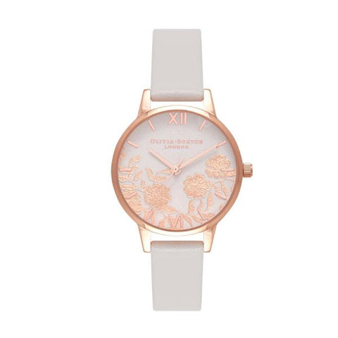 Olivia Burton Ladies' Blush & Rose Lace Blush Leather Strap Watch OB16MV69