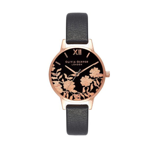 Olivia Burton Ladies' Black & Rose Lace Black Leather Strap Watch OB16MV75