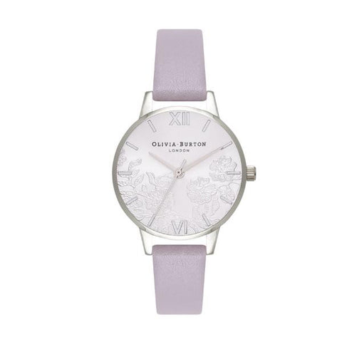 Olivia Burton Ladies' Lace Detail Grey Lilac Leather Strap Watch OB16MV76