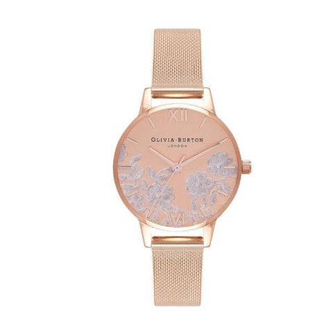 Olivia Burton Ladies' Lace Detail Rose Gold Ion-Plated Stainless Steel Watch OB16MV77