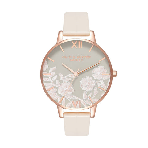 Olivia Burton Ladies' Lace Detail Nude Vegan Leather Strap Watch OB16MV80