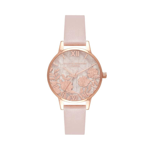 Olivia Burton Ladies' Semi Precious Rose Quartz Vegan Rose Sand & Rose Gold Watch OB16MV84