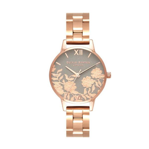 Olivia Burton Ladies' Lace Detail Rose Gold Ion-Plated Stainless Steel Band Watch OB16MV88