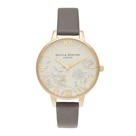 Olivia Burton Ladies' Demi Nude Dial Vegan London Grey & Gold Watch OB16MV98