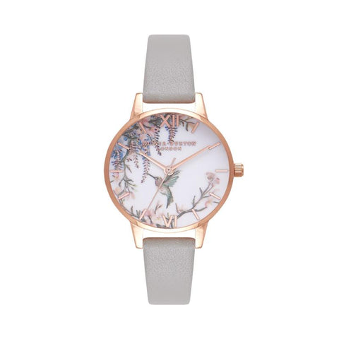 Olivia Burton Ladies' Painterly Prints Grey & Rose Gold Watch OB16PP22