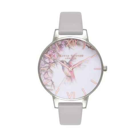 Olivia Burton Ladies' Painterly Prints London Grey Lilac Leather Strap Watch OB16PP23