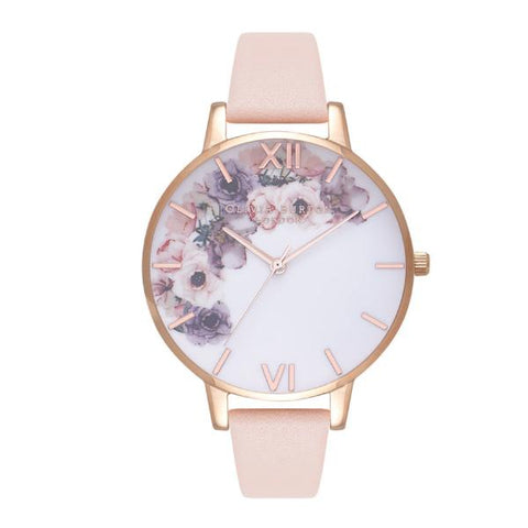 Olivia Burton Ladies' Watercolour Florals Nude Peach Leather Strap Watch OB16PP30