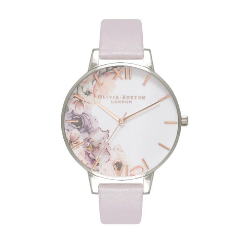 Olivia Burton Ladies' Watercolour Floral Grey Lilac & Silver Watch OB16PP32