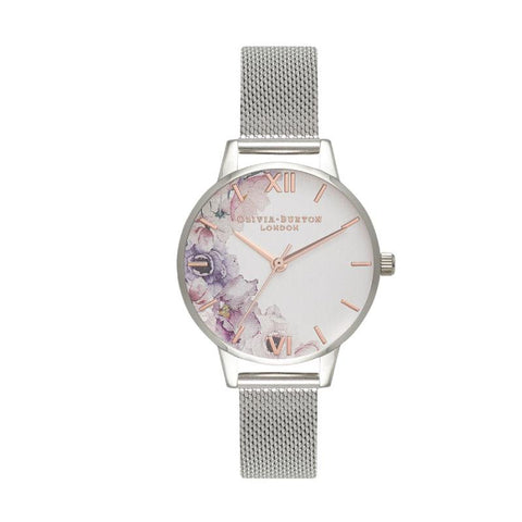 Olivia Burton Ladies' Watercolour Florals Silver Mesh Watch OB16PP37
