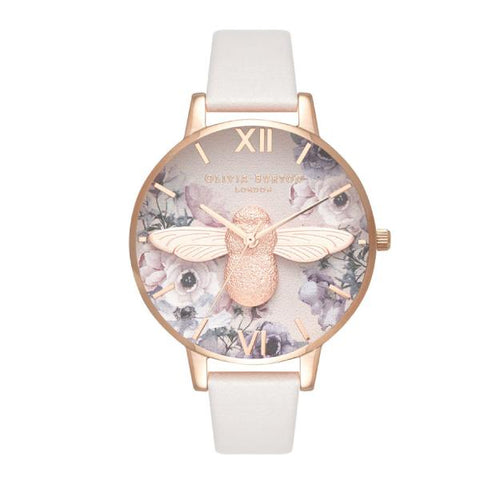 Olivia Burton Ladies' Watercolour Florals Bush Leather Strap Watch OB16PP41