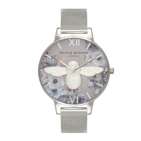 Olivia Burton Ladies' Watercolour Florals Silver Stainless Steel Band Watch OB16PP42
