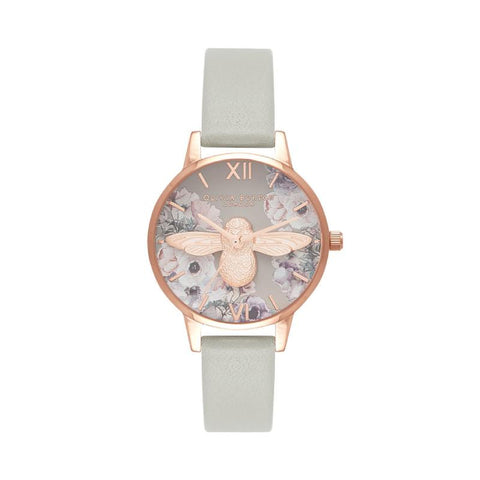 Olivia Burton Ladies' Watercolour Floral Grey & Rose Gold Watch OB16PP43