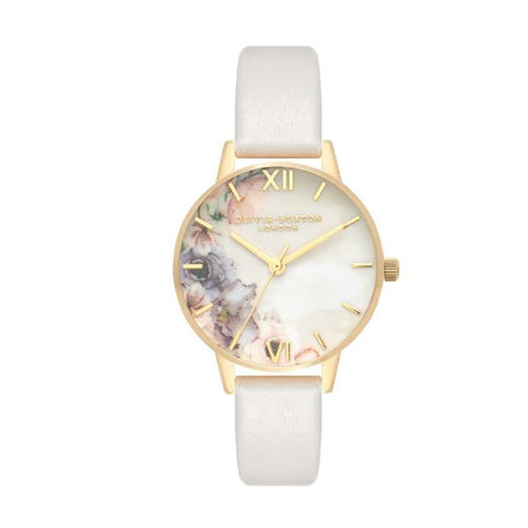 Olivia Burton Ladies' Watercolour Florals Blush Leather Strap Watch OB16PP45