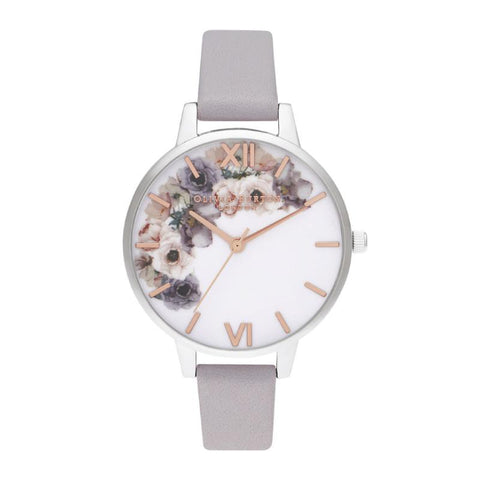 Olivia Burton Ladies' Watercolour Floral Demi Grey Lilac Rose Gold & Silver Watch OB16PP56