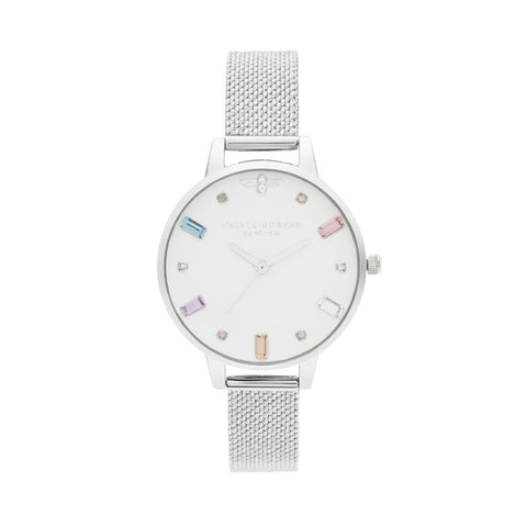 Olivia Burton Rainbow Bee Silver 34mm Women's Watch OB16RB10
