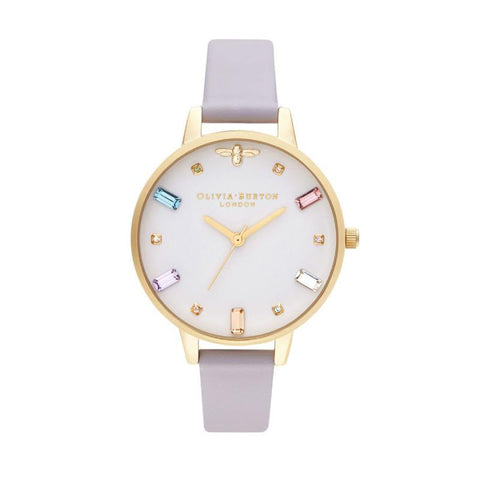 Olivia Burton Rainbow Bee PARMA VIOLET LEATHER Women's Watch OB16RB11