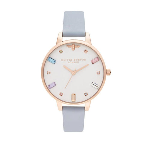 Olivia Burton Rainbow Bee CHALK BLUE LEATHER Women's Watch OB16RB12