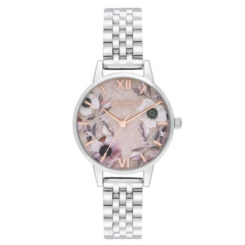 Olivia Burton Ladies' Midi Rose Quartz & Silver Bracelet Watch OB16SP07