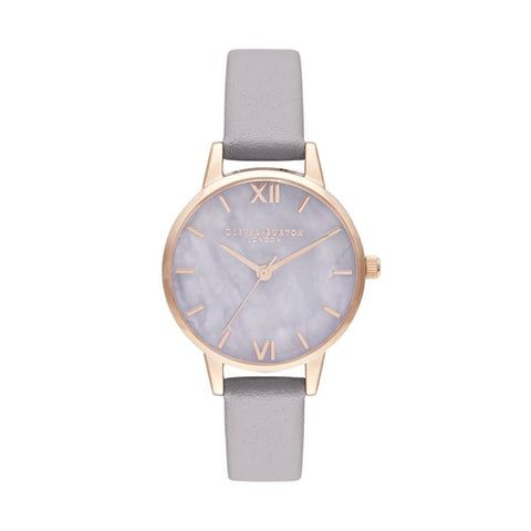 Olivia Burton Semi Precious Lilac Leather Strap Watch OB16SP17