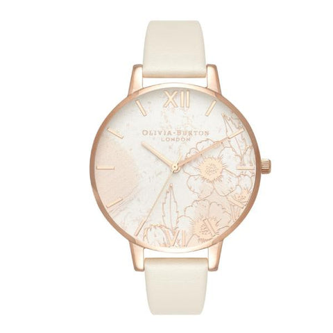 Olivia Burton Ladies' Abstract Florals Nude Vegan PU Leather Strap Watch OB16VM25