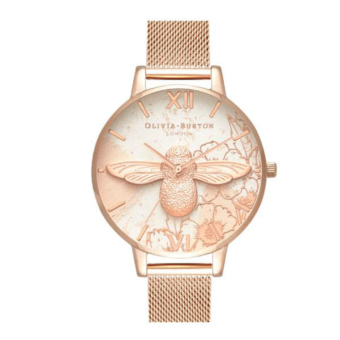 Olivia Burton Ladies' Abstract Florals Rose Gold Ion-Plated Stainless Steel Band Watch OB16VM26