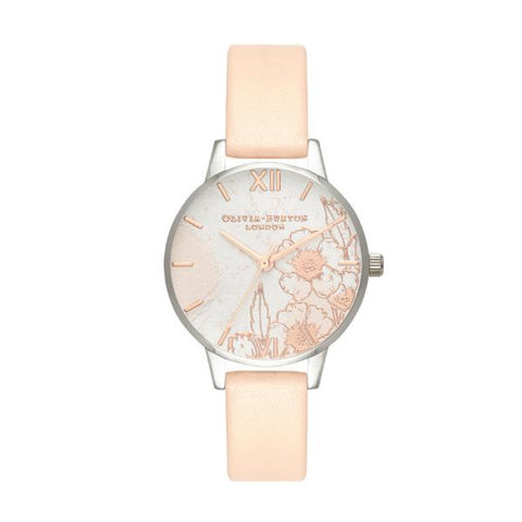 Olivia Burton Ladies' Abstract Florals Nude Peach Leather Strap Watch OB16VM27