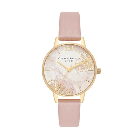 Olivia Burton Ladies' Abstract Floral Vegan Rose Sand & Gold Watch OB16VM31