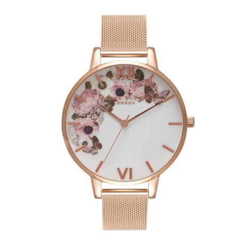 Olivia Burton Ladies' Signature Floral Rose Gold Ion-Plated Stainless Steel Band Watch OB16WG18