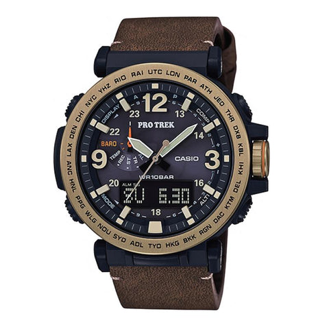 Casio Protrek PRG-600 Series Triple Sensor Version 3 Brown Leather Strap Watch PRG600YL-5D PRG-600YL-5D