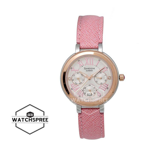 "Casio Sheen Color Series ""Pink Gradation"" Swarovski® Crystals Pink Leather Strap Wach SHE3034BGL-7A"