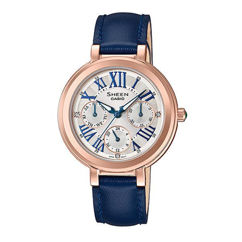 Casio Sheen Color Series with Swarovski® Crystals Blue Genuine Leather Band Watch SHE3034GL-7C SHE-3034GL-7C