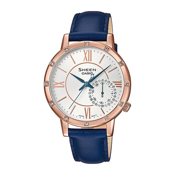 Casio Sheen Color Series with Swarovski® Crystals Blue Genuine Leather Band Watch SHE3046GLP-7C SHE-3046GLP-7C