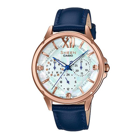 Casio Sheen Color Series with Swarovski® Crystals Blue Genuine Leather Band Watch SHE3056PGL-7B SHE-3056PGL-7B