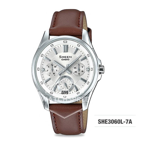 Casio Sheen Multi-Hand Series with Swarovski® Crystals Brown Genuine Leather Strap Watch SHE3060L-7A SHE-3060L-7A