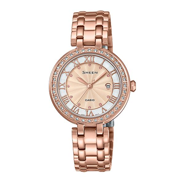 Casio Sheen Color Series with Swarovski® Crystals Pink Gold Ion Plated Stainless Steel Band Watch SHE4034PG-4A SHE-4034PG-4A