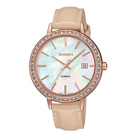 Casio Sheen 3-Hand Analog with Swarovski® Crystals Light Brown Genuine Leather Band Watch SHE4052PGL-7B SHE-4052PGL-7B