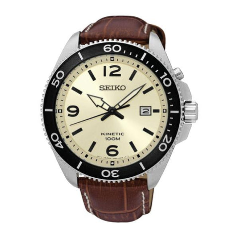 Seiko Men's Kinetic Brown Calf Leather Strap Watch SKA749P1