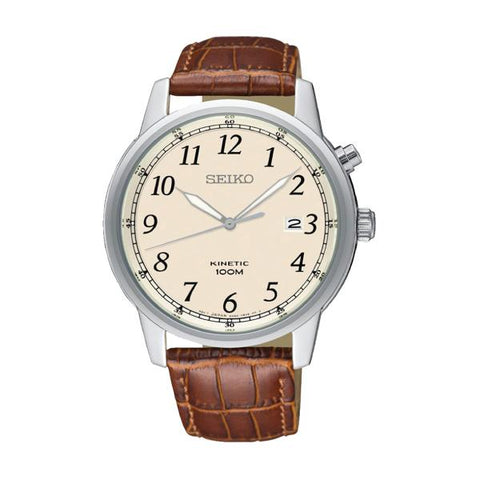 Seiko Men's Kinetic Brown Calf Leather Strap Watch SKA779P1