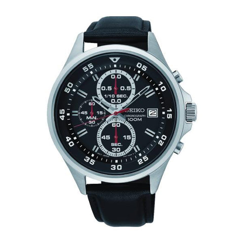 Seiko Chronograph Black Leather Strap Watch SKS635P1
