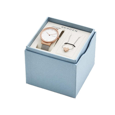 Skagen Ladies' Ancher Steel-Mesh Watch and Katrine Necklace Box Set SKW1086