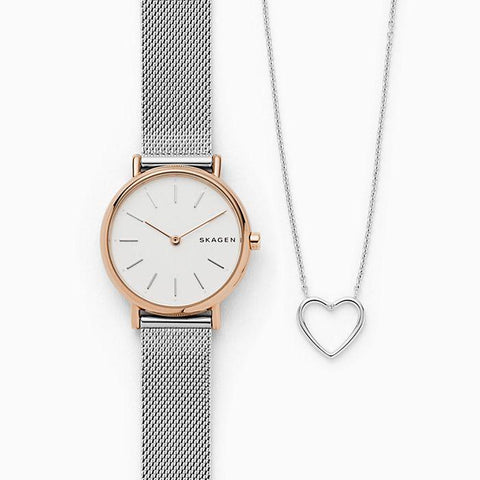 Skagen Ladies' Signatur Steel Mesh Watch  & Katrine Genuine Diamond Necklace Box Set SKW1106
