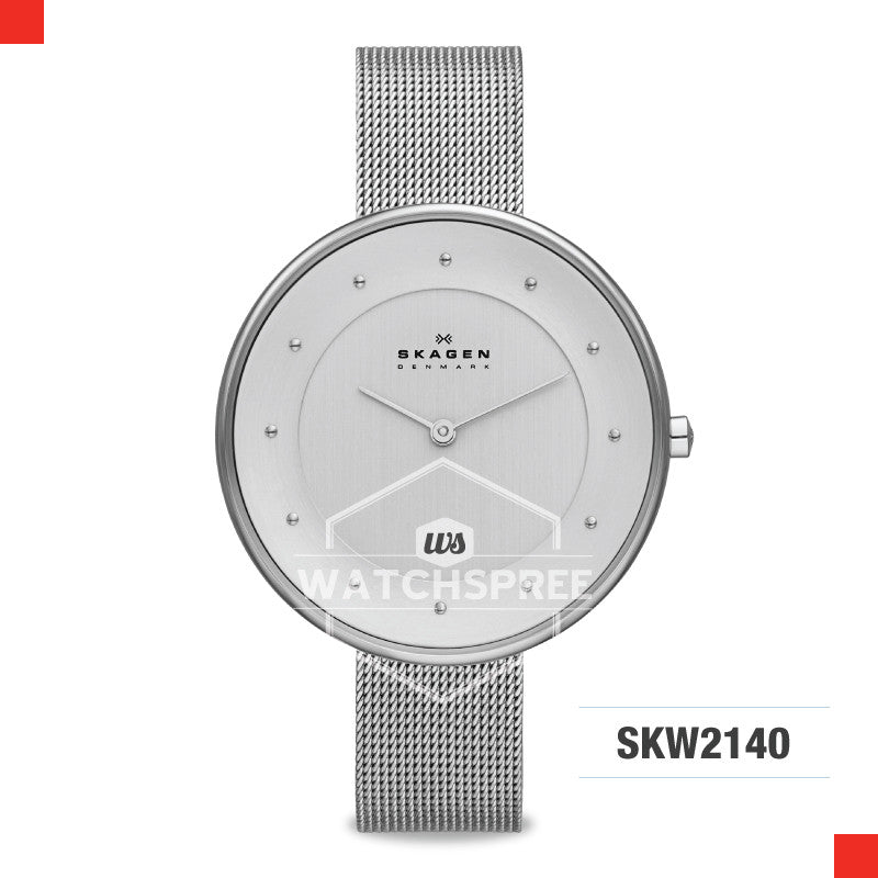 Skagen Ladies Gitte Silver Steel Mesh Watch SKW2140