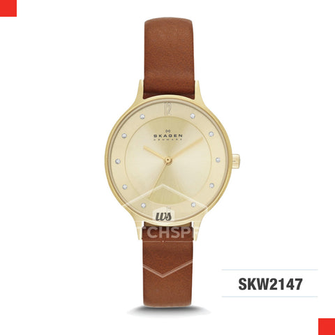 Skagen Ladies Anita Brown Leather Watch SKW2147